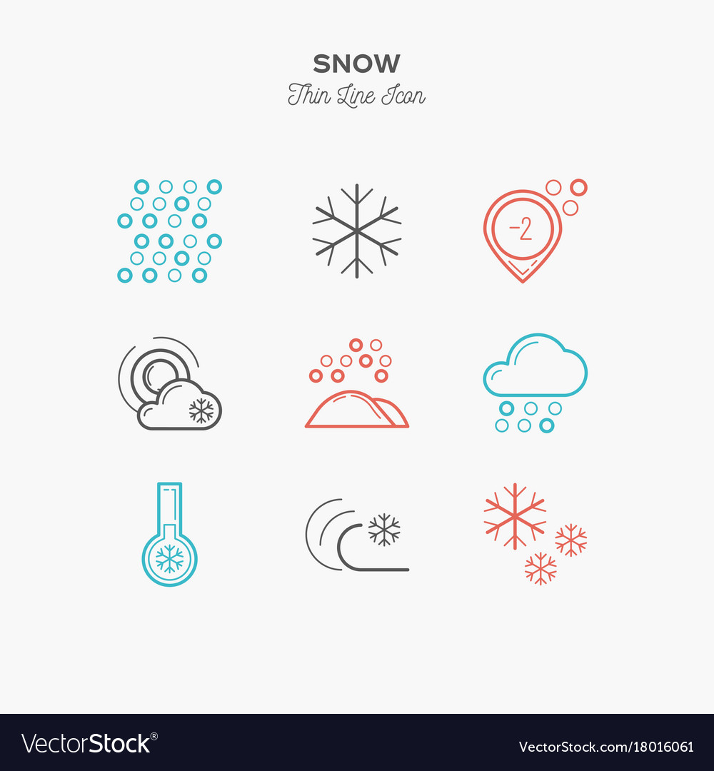 Snow snowflake frost and more thin line color vector image