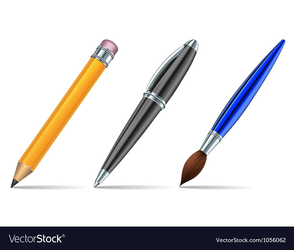 Pen tools isolated on the white background vector image