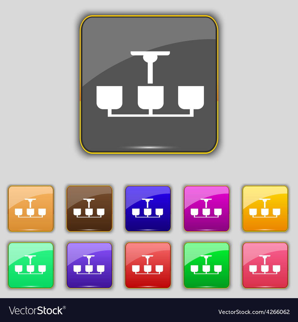 Chandelier Light Lamp icon sign Set with eleven Vector Image