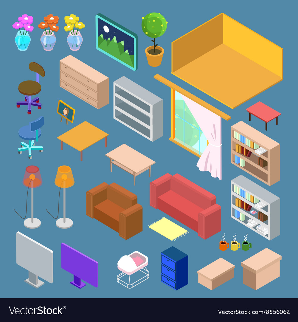 isometric furniture isometric living room planning
