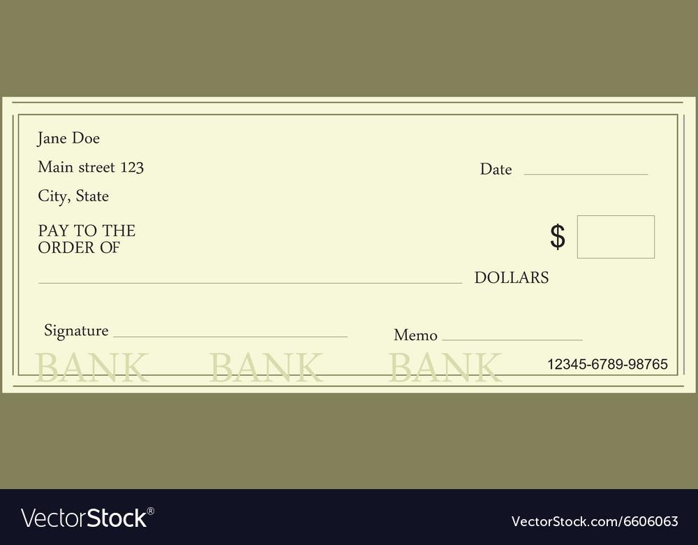Blank bank check vector image