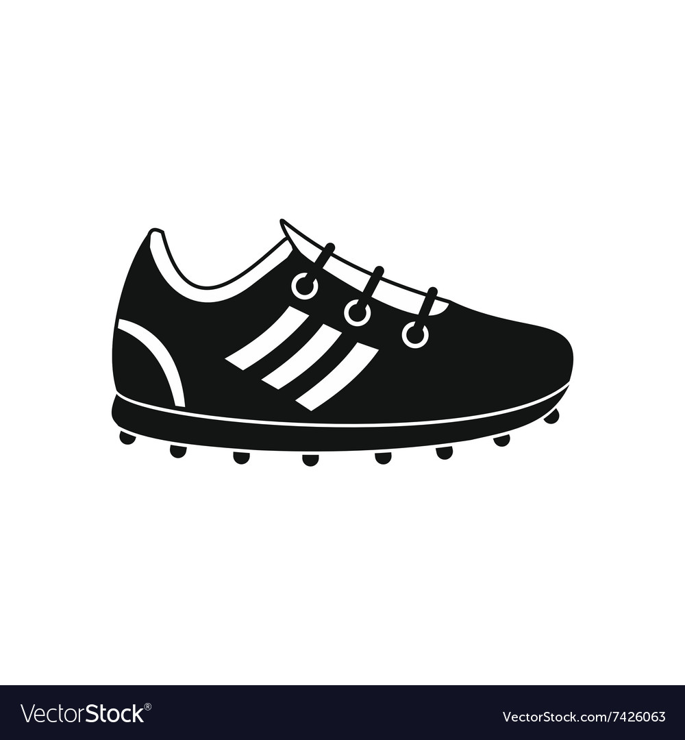 Soccer shoes black simple icon vector image