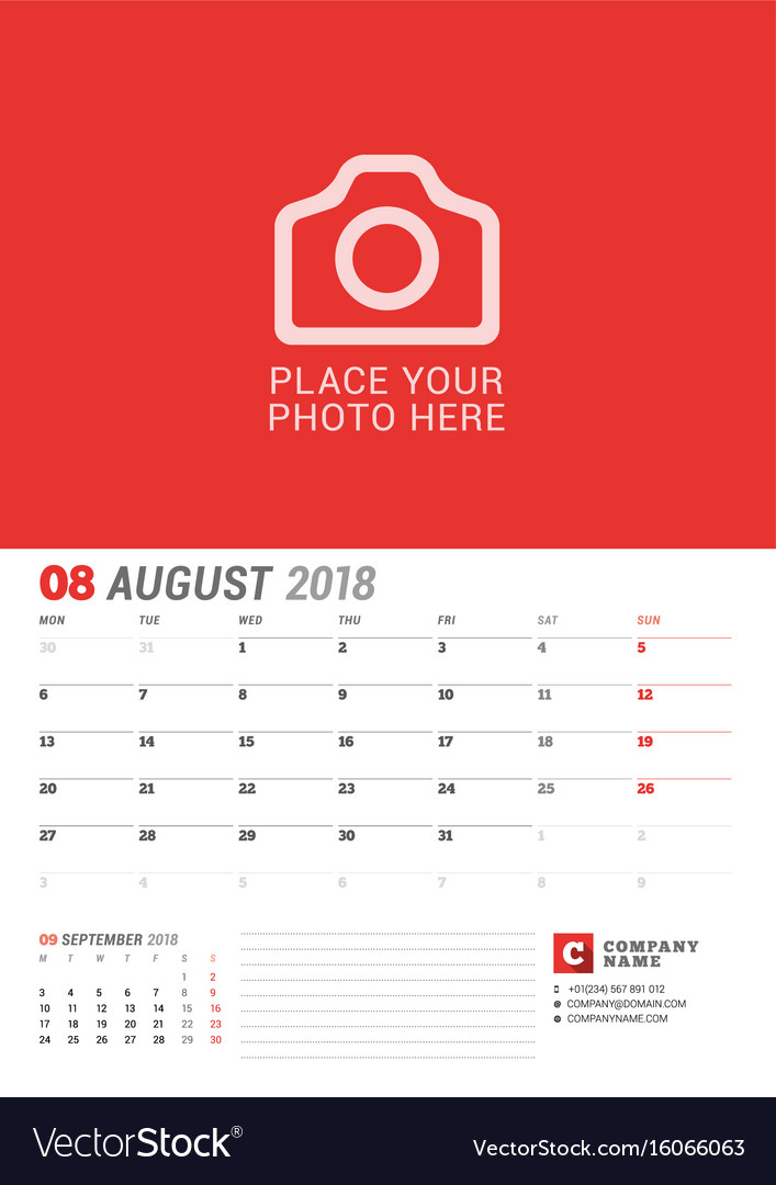 Wall calendar planner for 2018 year august print vector image