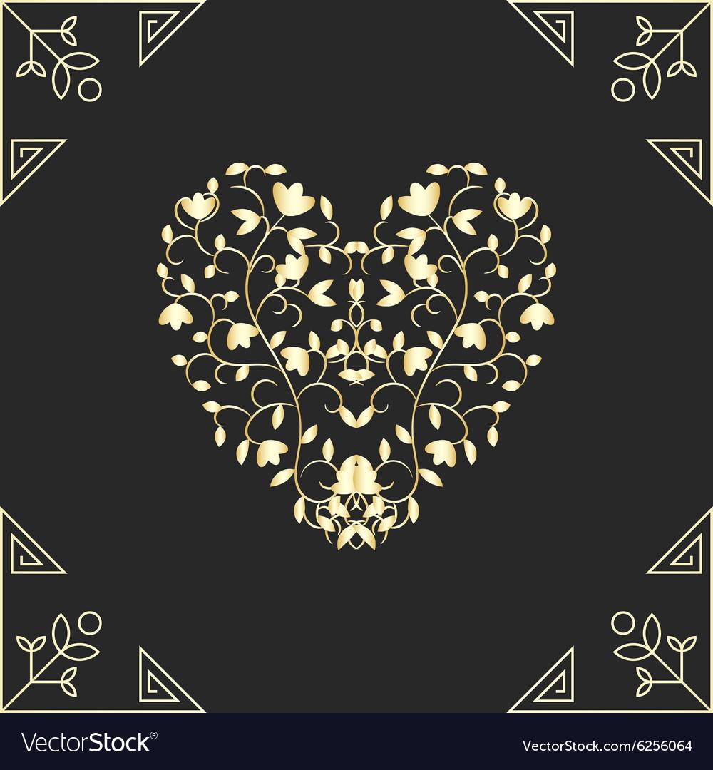 Golden heart in swirls elements for vard design vector image