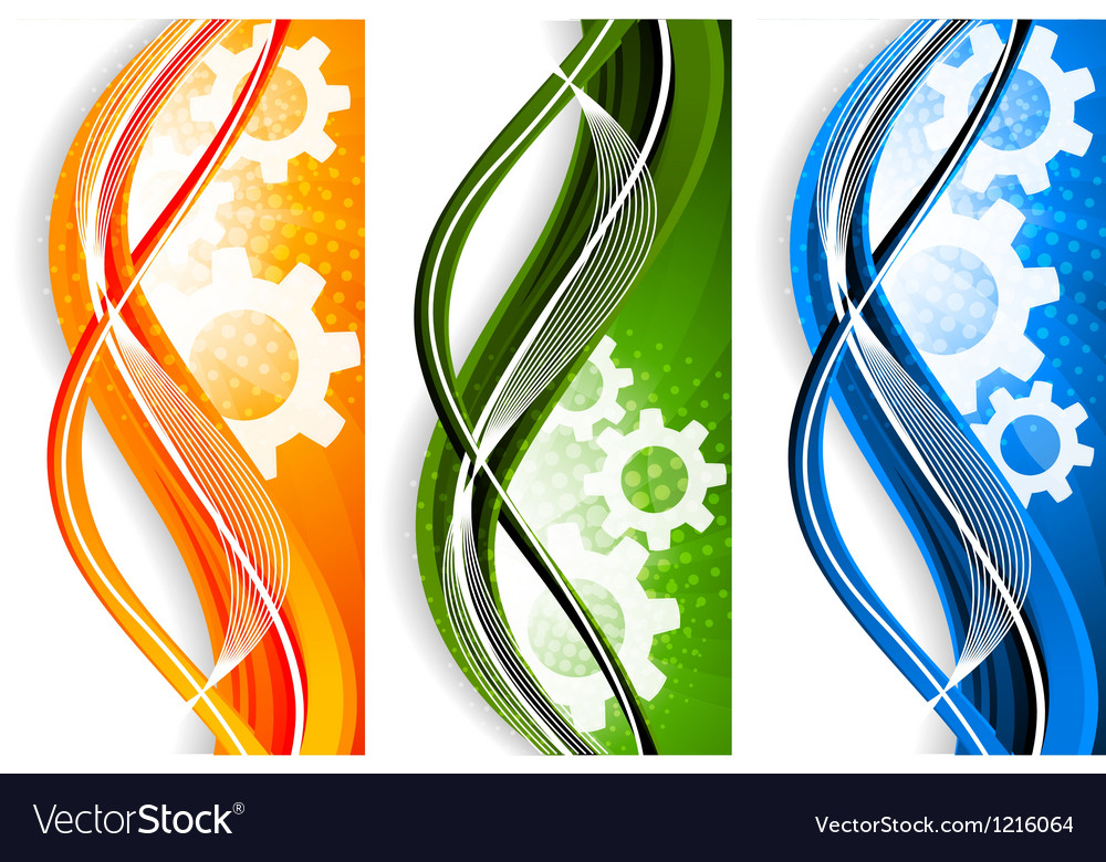 Wavy banners with gears vector image