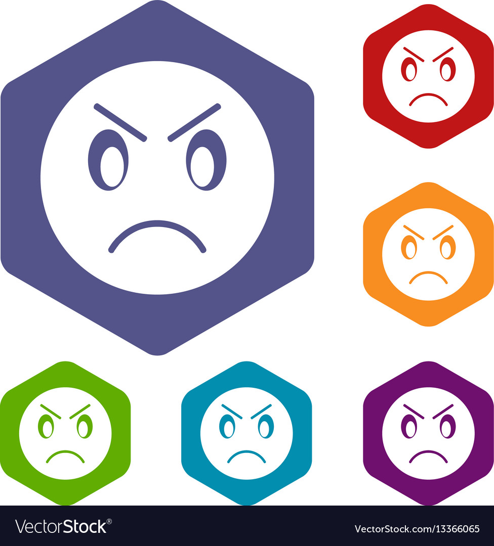 Annoyed emoticon icons set vector image