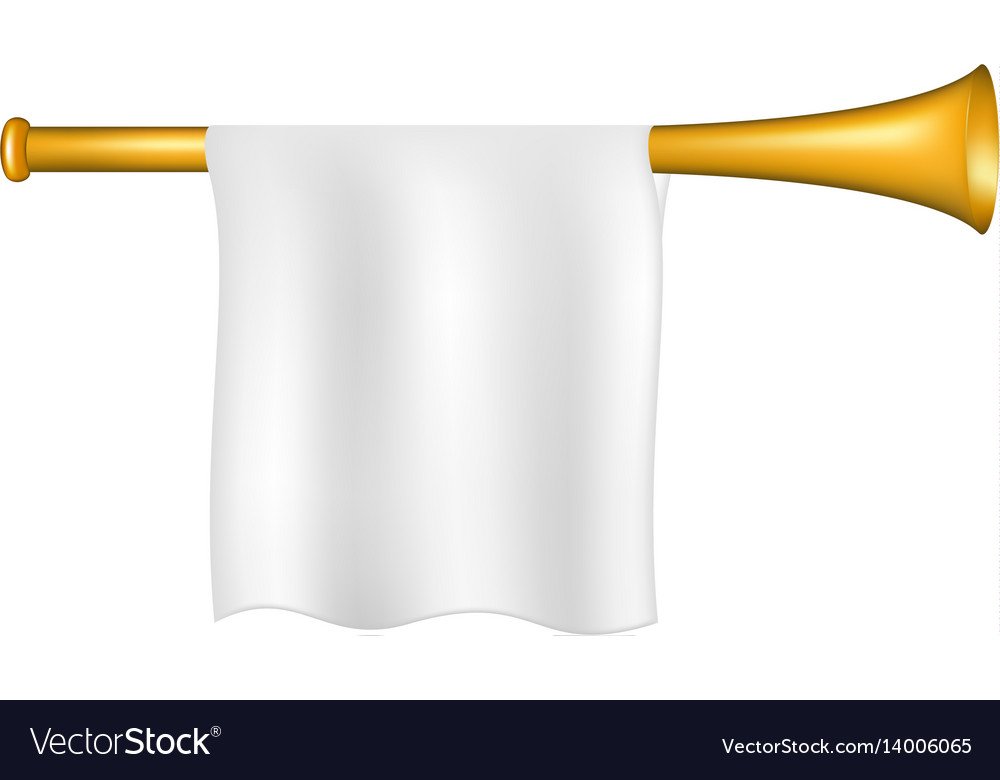 Trumpet with white flag vector image