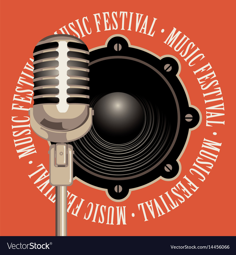 Banner music festival with microphone and speaker vector image