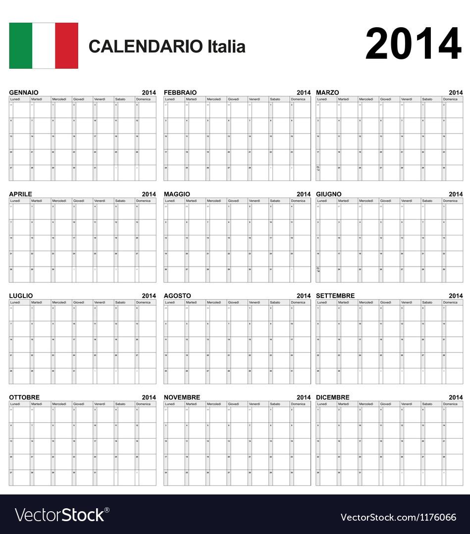 Calendar 2014 Italy Type 22 vector image