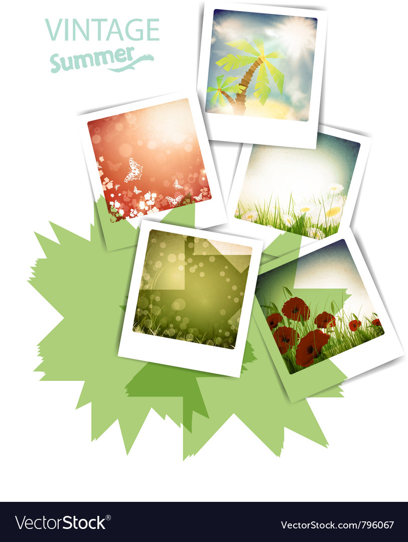 Some vintage summer photos vector image