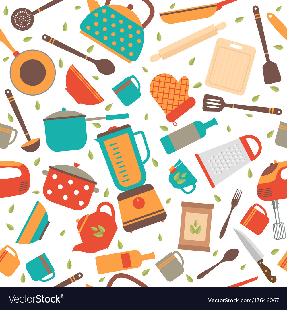 Seamless pattern with kitchen tools cooking vector image