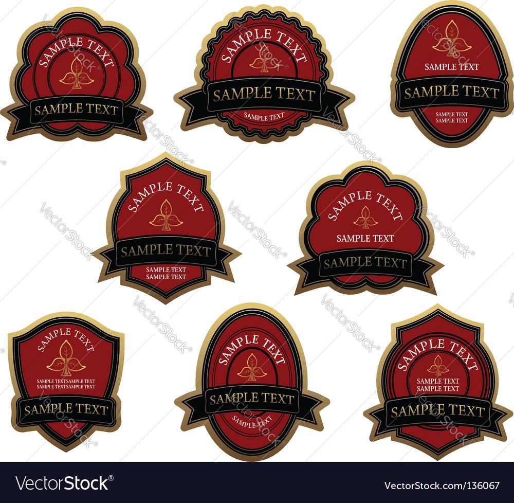 Set of red vintage labels vector image