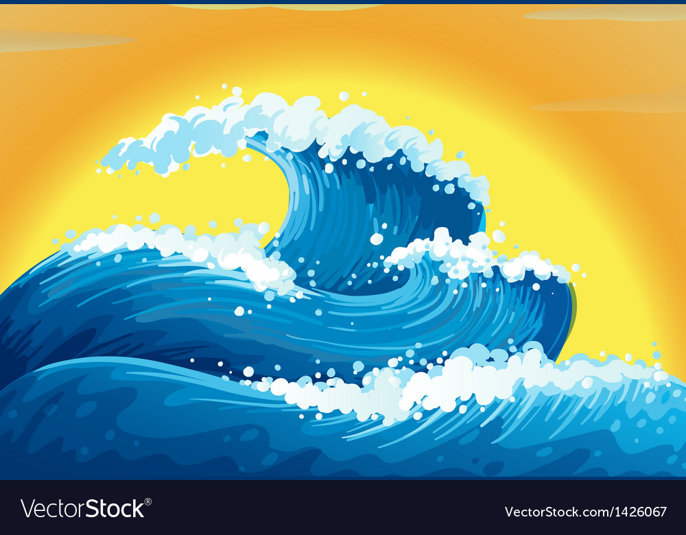 The waves and the sun vector image