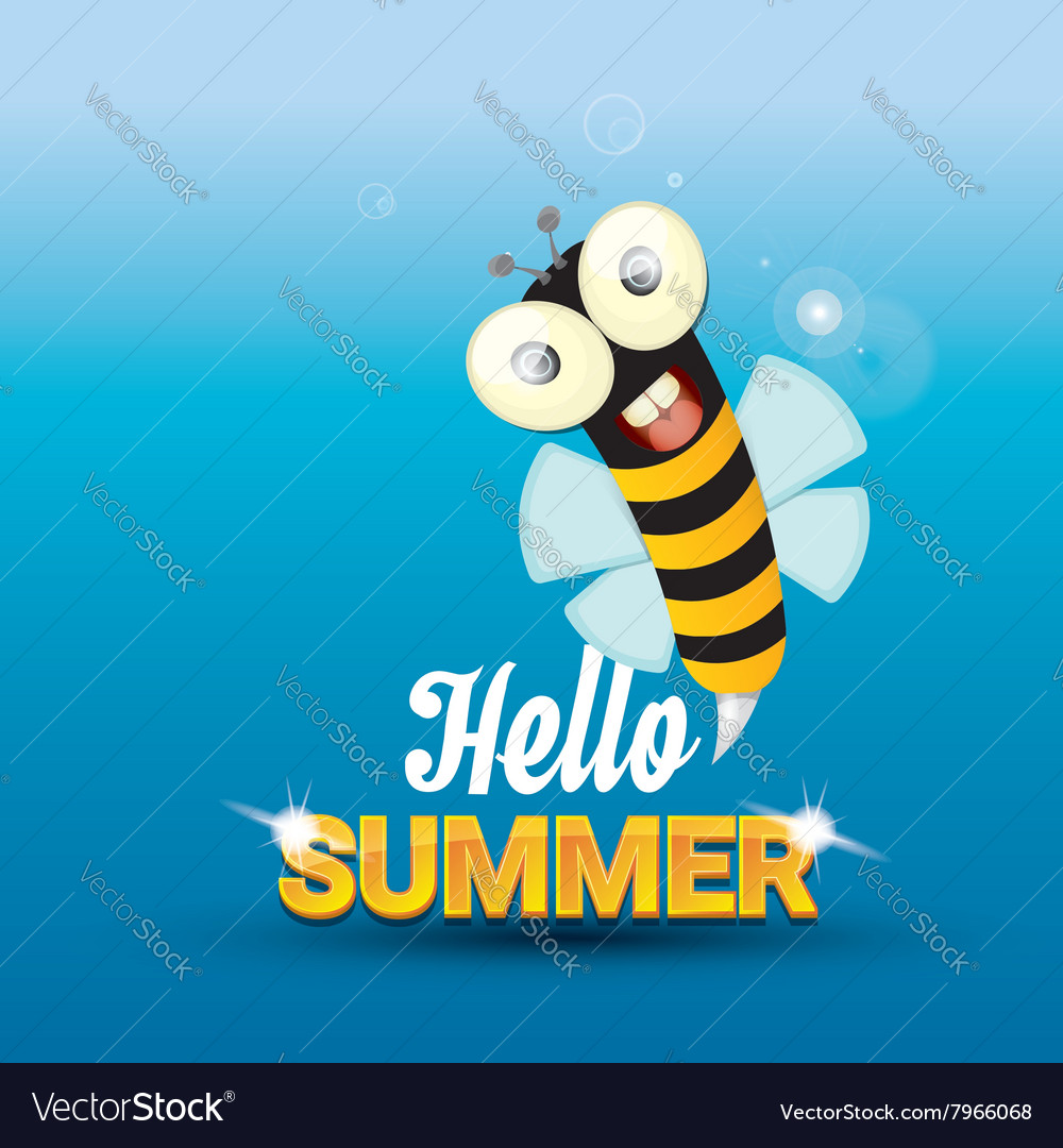 Attrayant Hello Summer Background Funny Cartoons Bee Vector Image