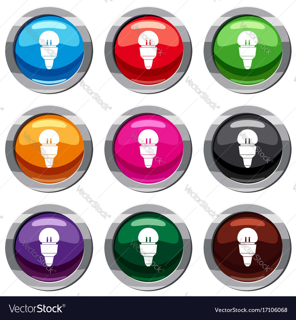 Reflector bulb set 9 collection vector image