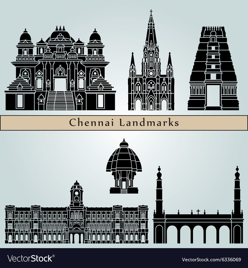 Chennai landmarks and monuments vector image