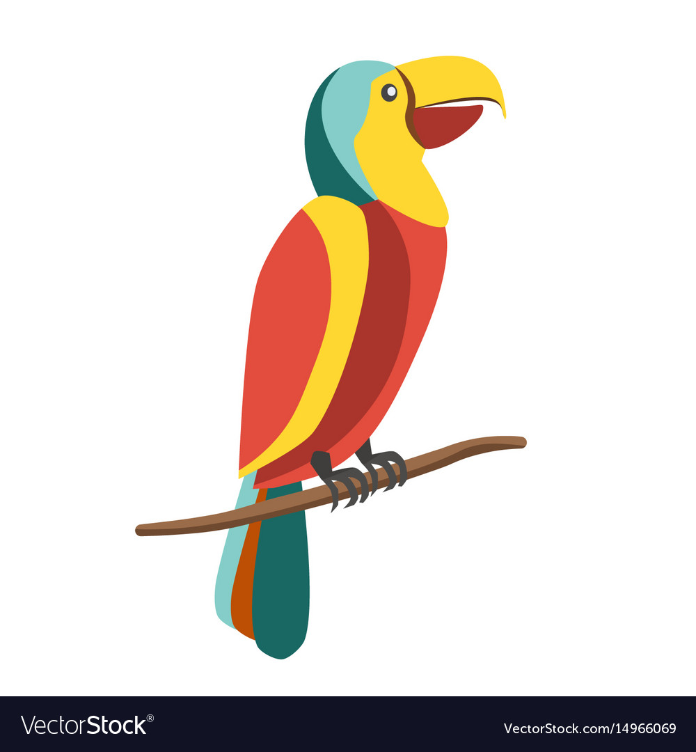 Colorful parrot on branch vector image