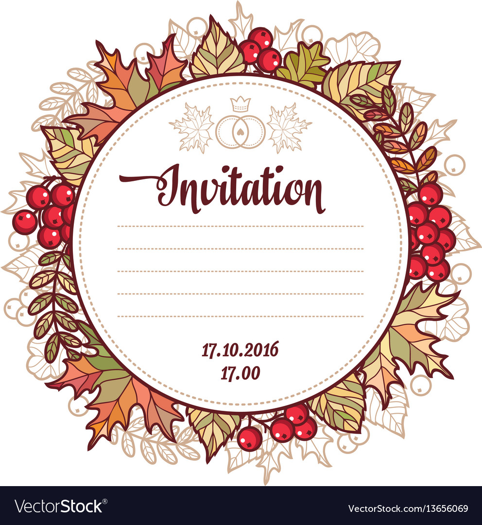 Wedding card template autumn background invitation wedding card template autumn background invitation vector image pronofoot35fo Gallery