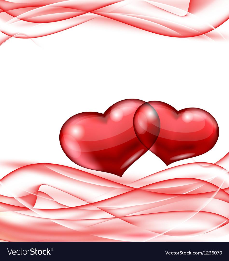 Cute hearts Valentine wavy background vector image
