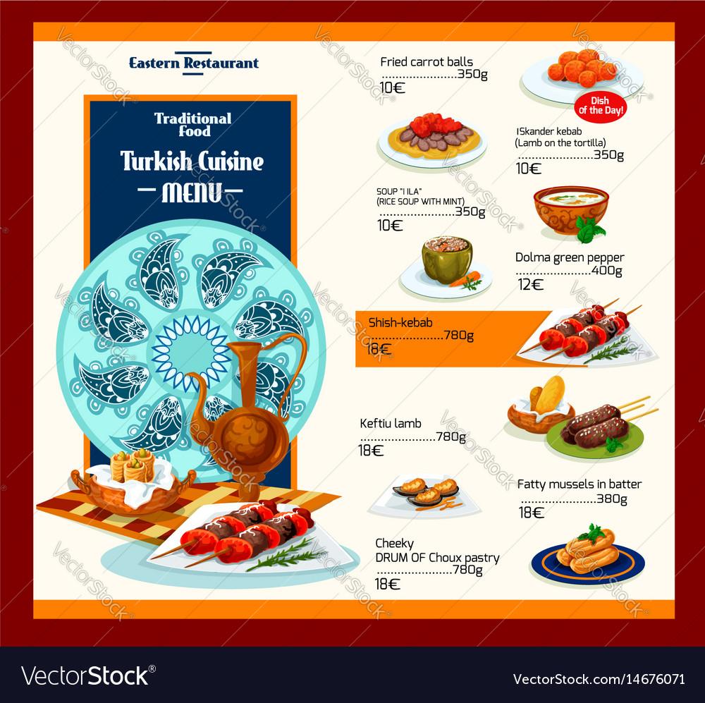 Menu template of turkish cuisine restaurant vector image