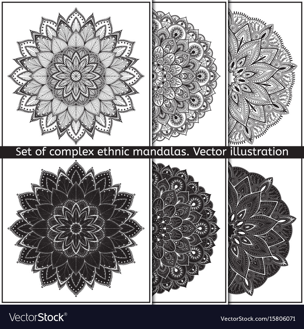 Set of 6 hand-drawn mandala on white vector image