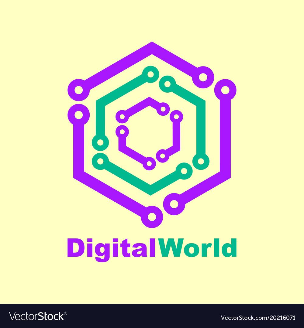 World tech logo design template digital world vector image