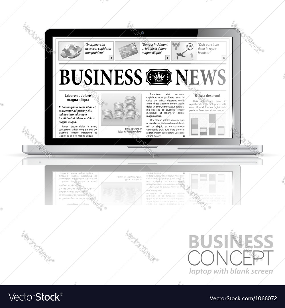 Concept - Digital News Laptop with Business News vector image