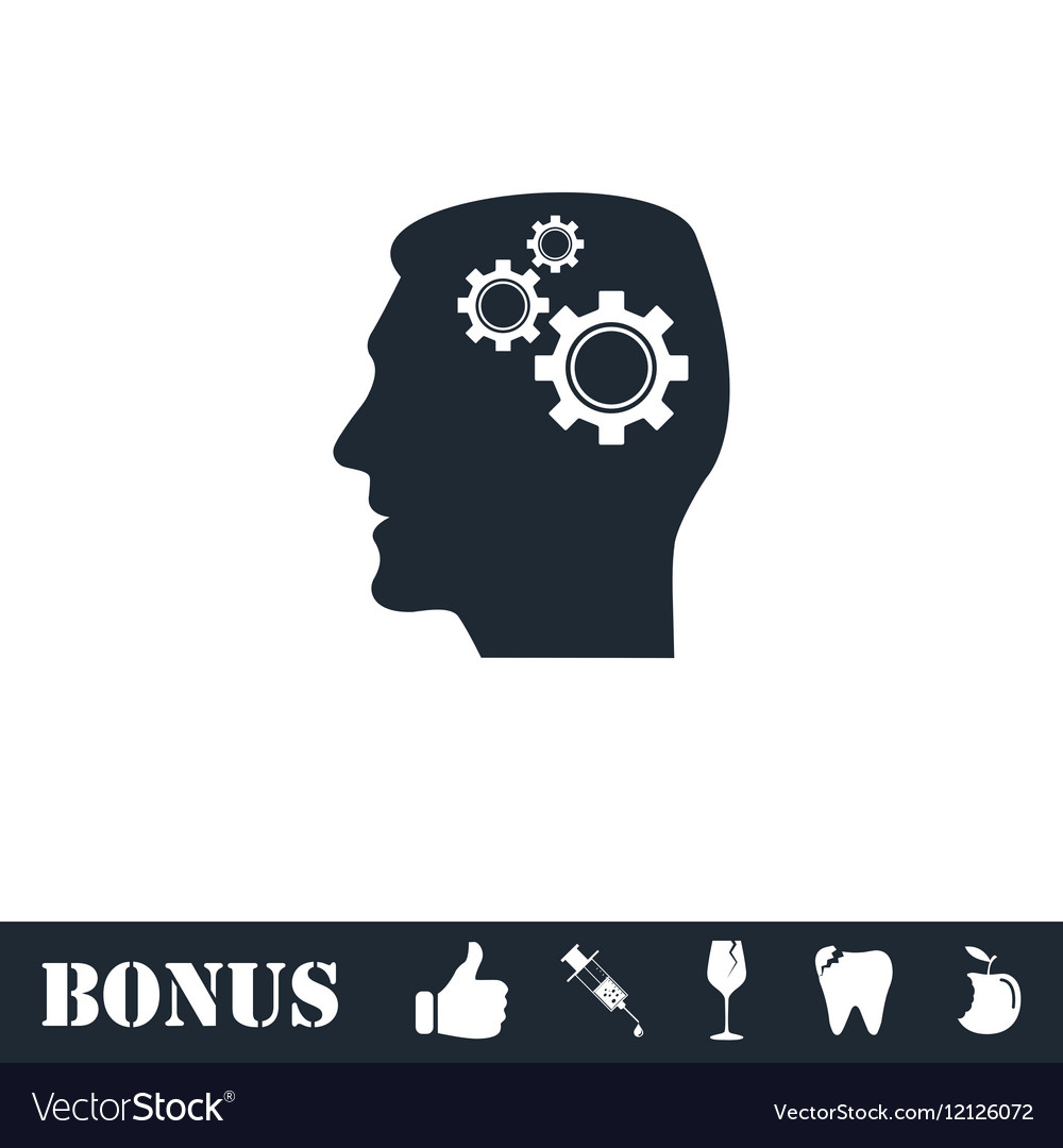 Gear head icon flat vector image