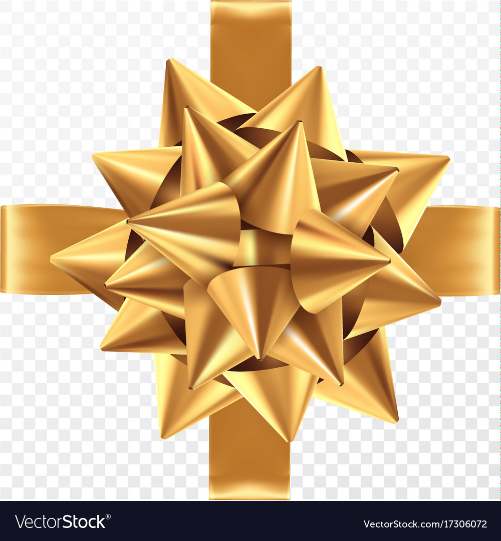 Gold gift bow on a transparent background vector image negle Image collections