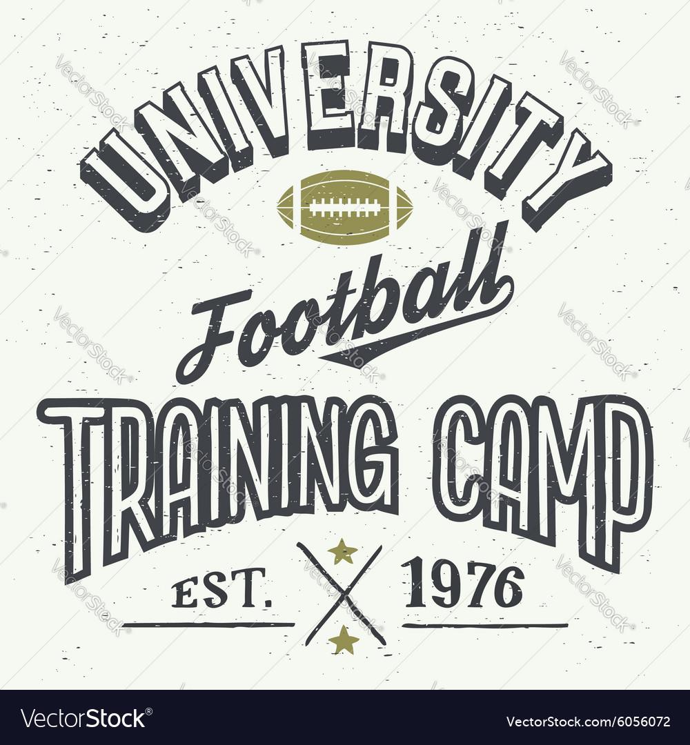 University football training camp t-shirt vector image