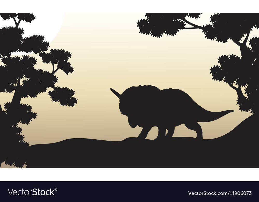 Dinosaur triceratops beautiful scenery of vector image
