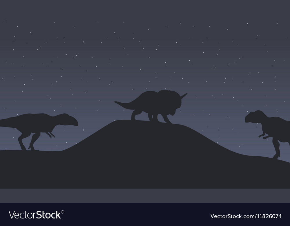 Silhouette of mapusaurus and triceratops dinosaur vector image