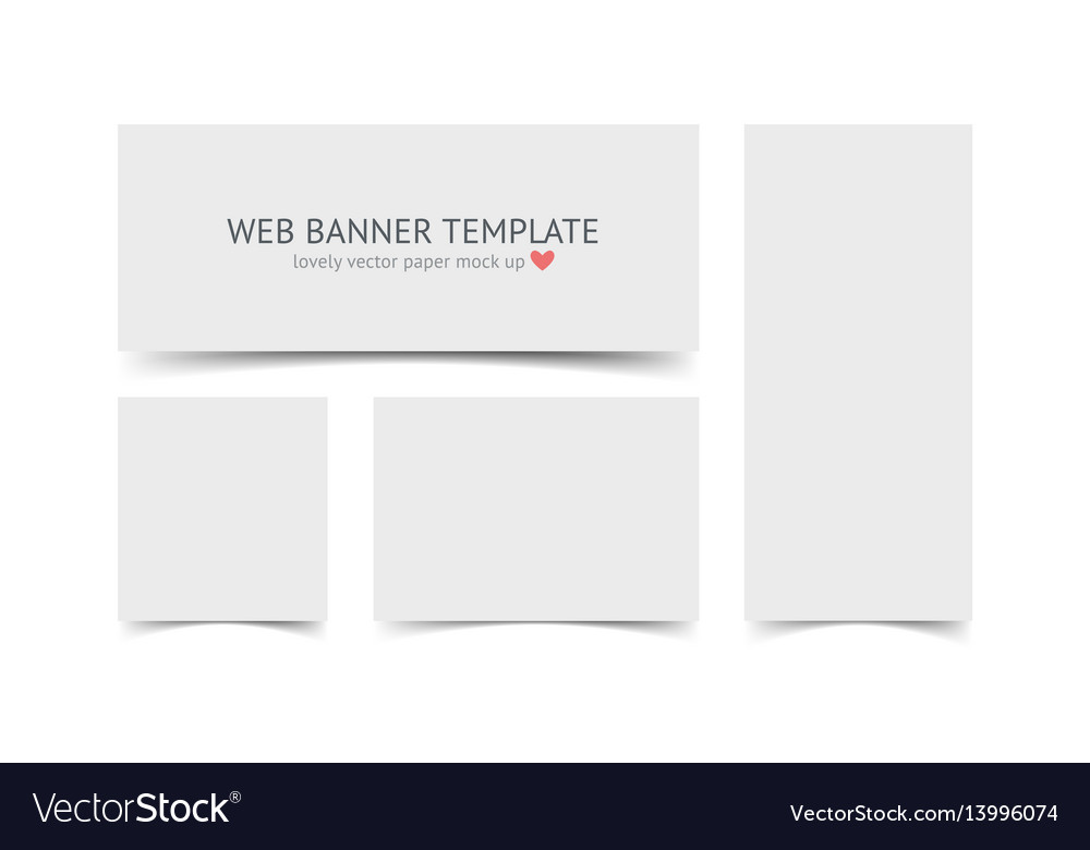 Web banners with shadow set isolated on white vector image