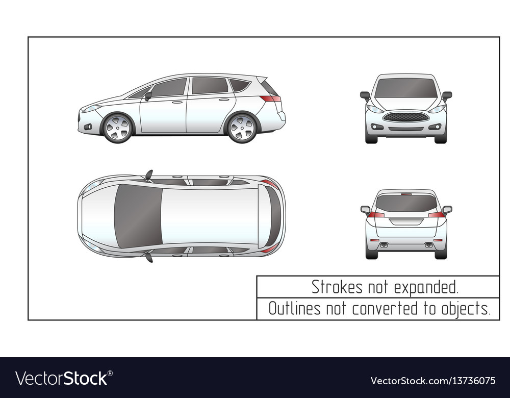 Car van drawing outlines not converted to objects vector image