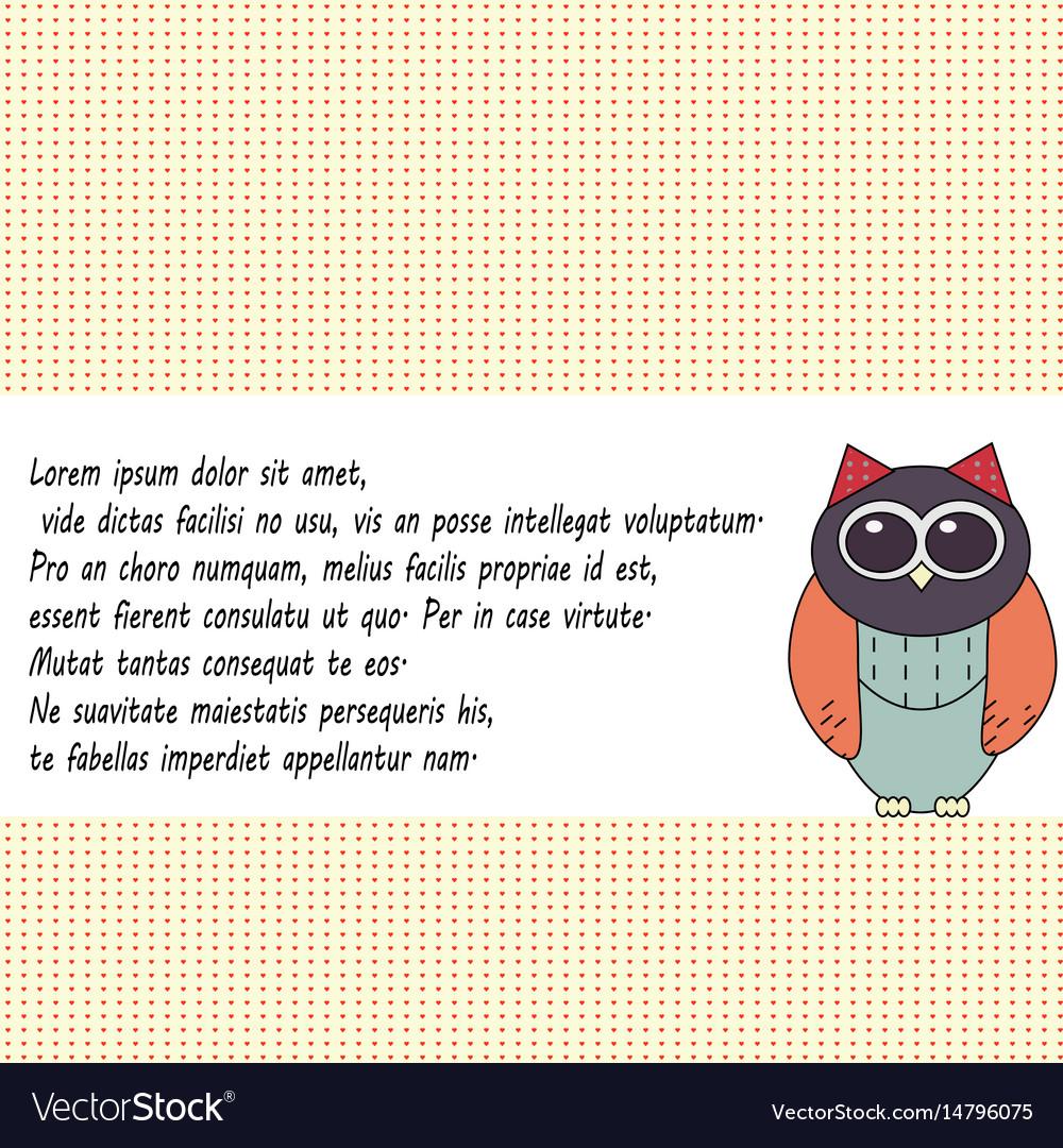 Owl invitation card template royalty free vector image owl invitation card template vector image stopboris Choice Image