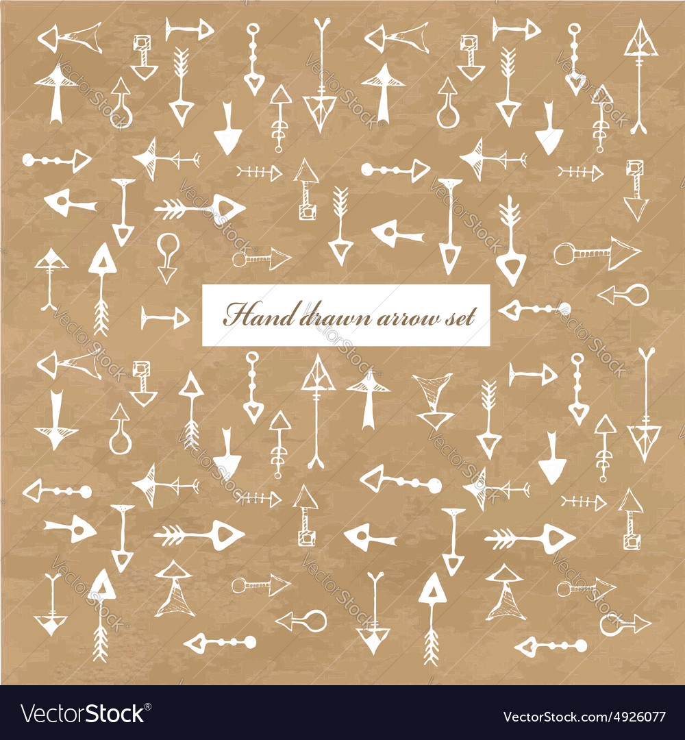 Hand drawn isolated arrow collection vector image