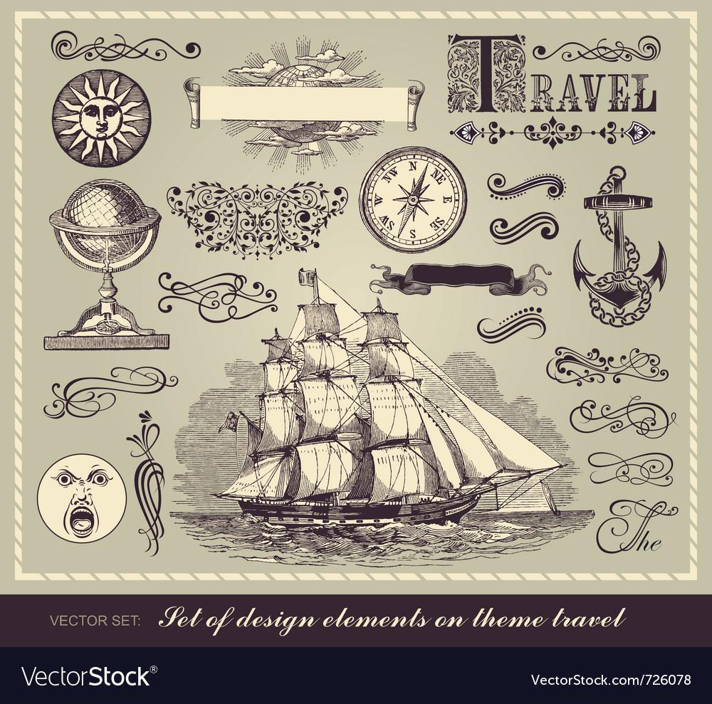 Set of travel symbols vector image