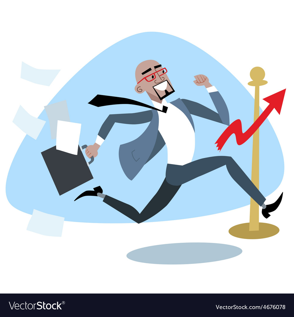 African businessman crosses the finish line chart vector image
