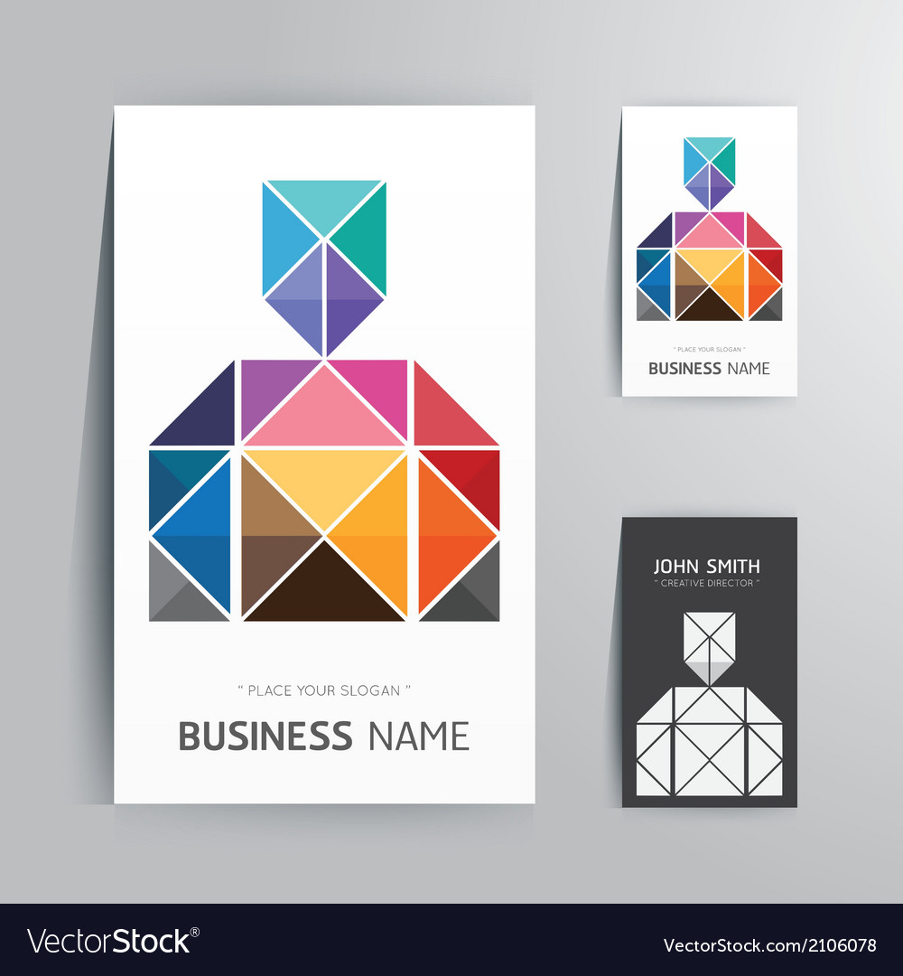 Modern creative business card man shape Royalty Free Vector