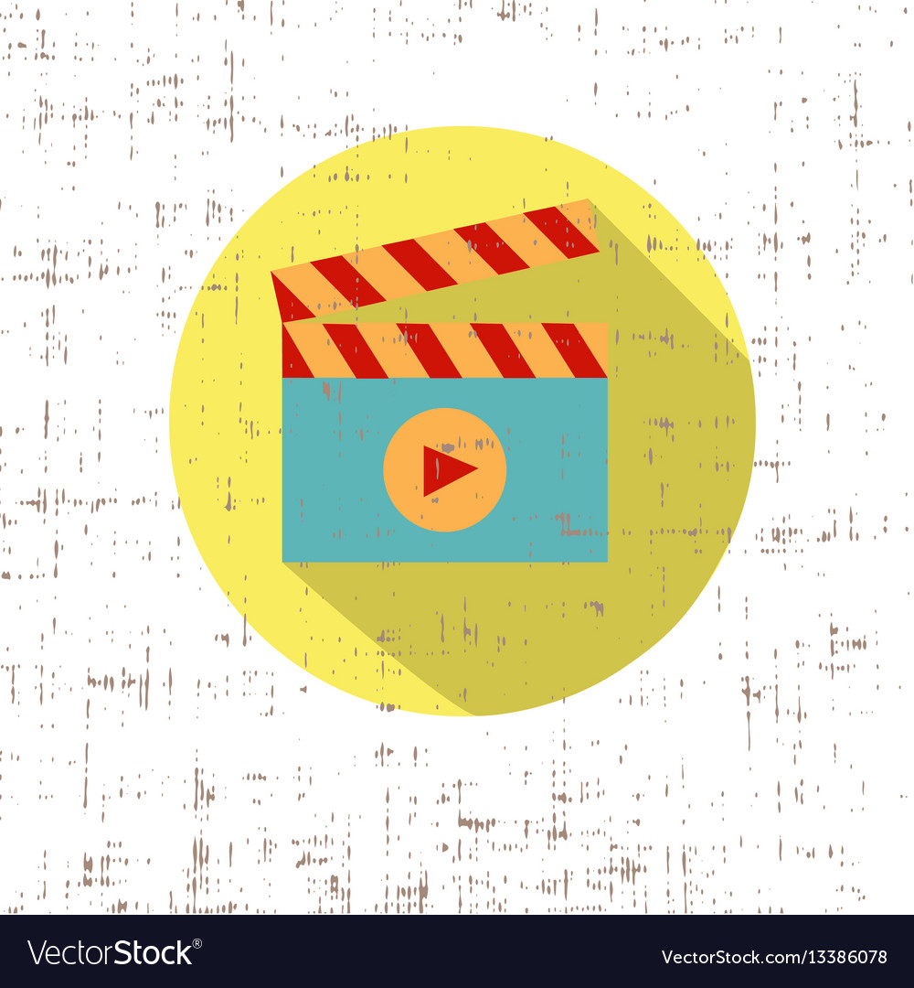 Play cinema icon retro style with screen texture vector image