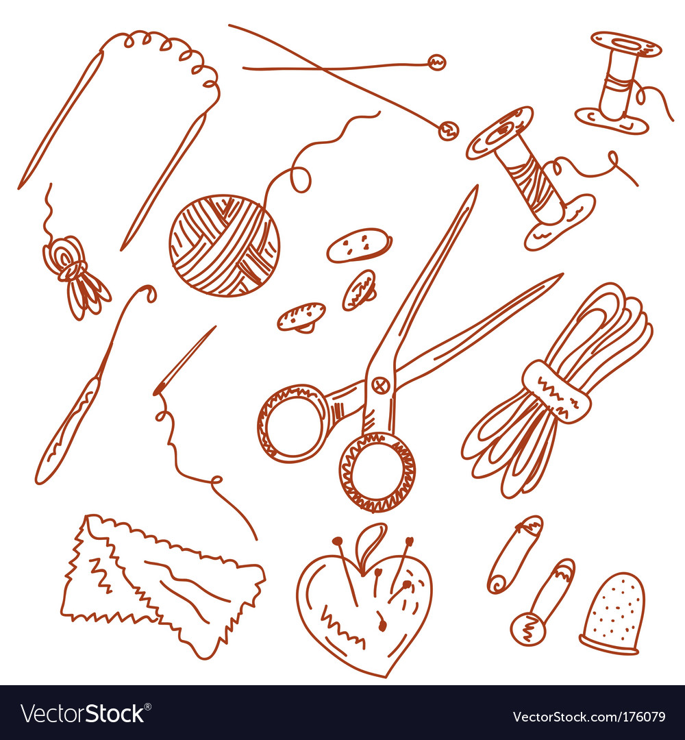 Sewing and knitting doodles vector image