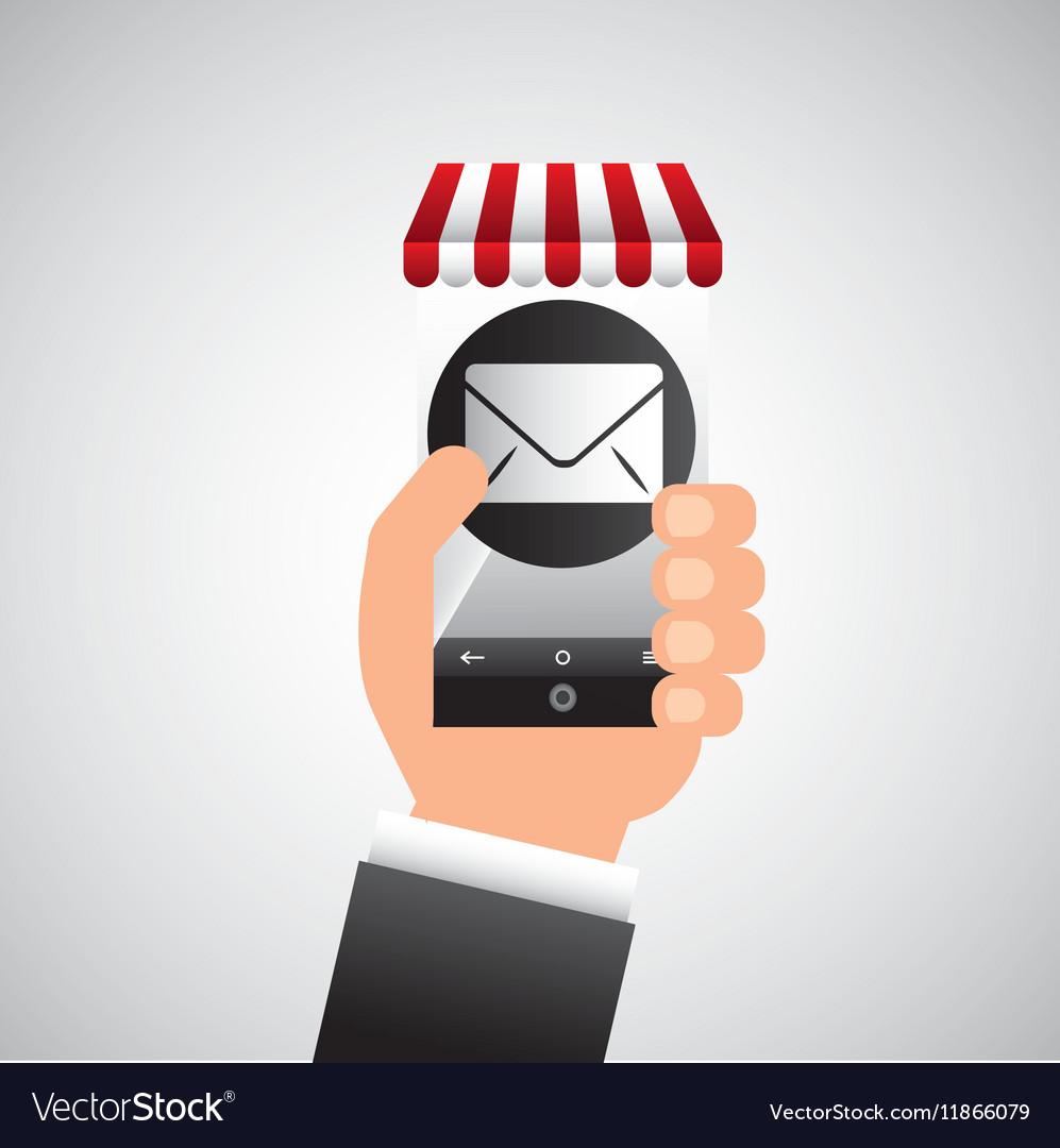 Hand holding e-shopping email design vector image