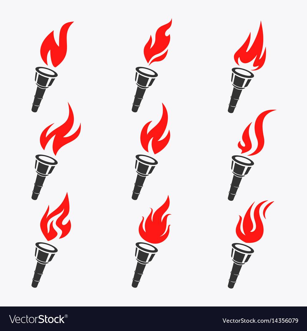 Torch symbol set vector image