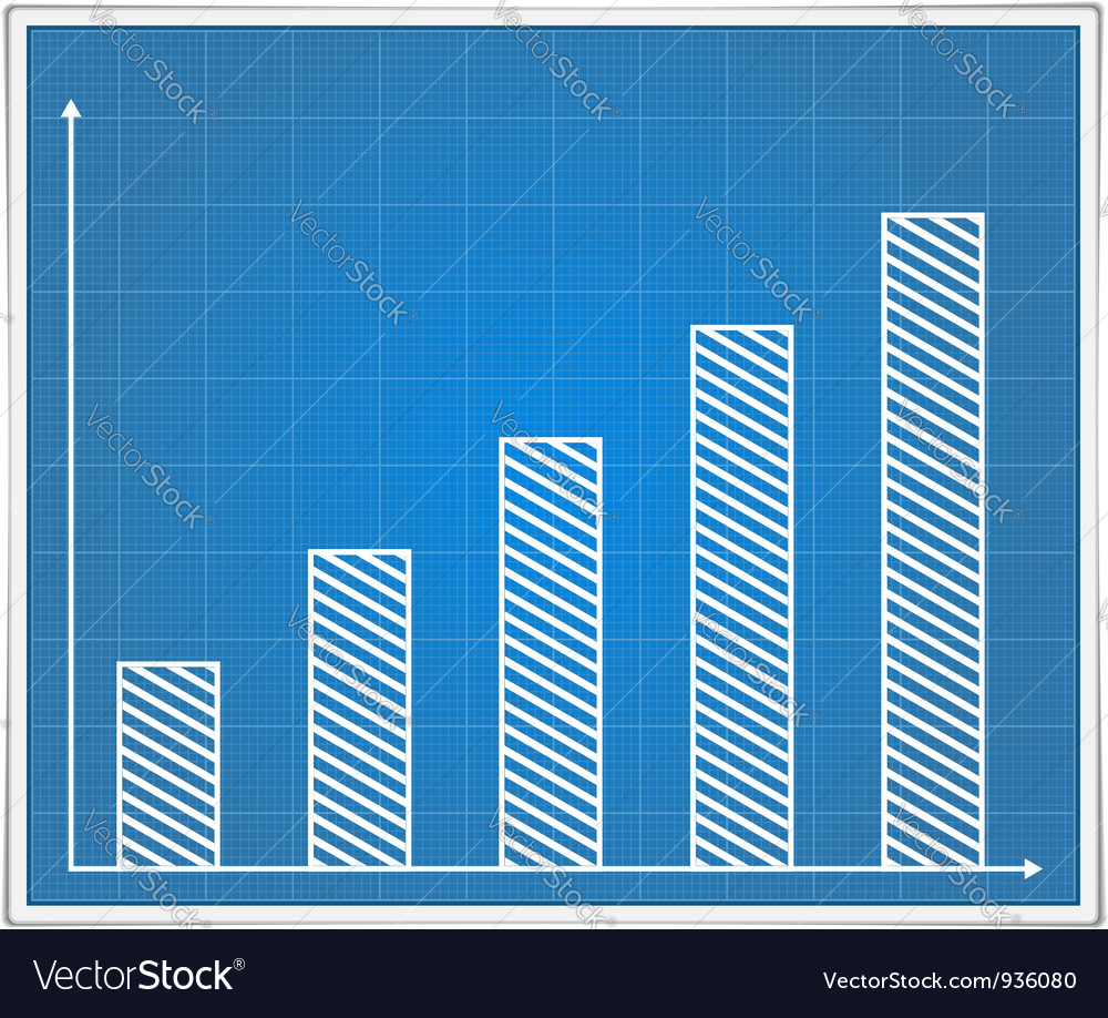 Blueprint bar graph vector image