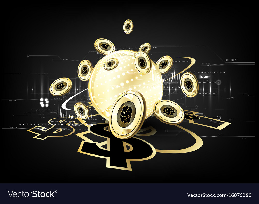 Digital currency worldwide financing golden vector image