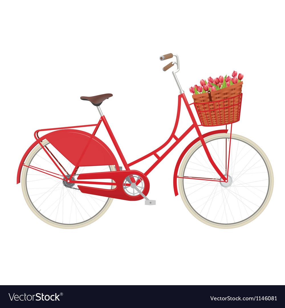 Vintage ladies bicycle with wicker basket vector image