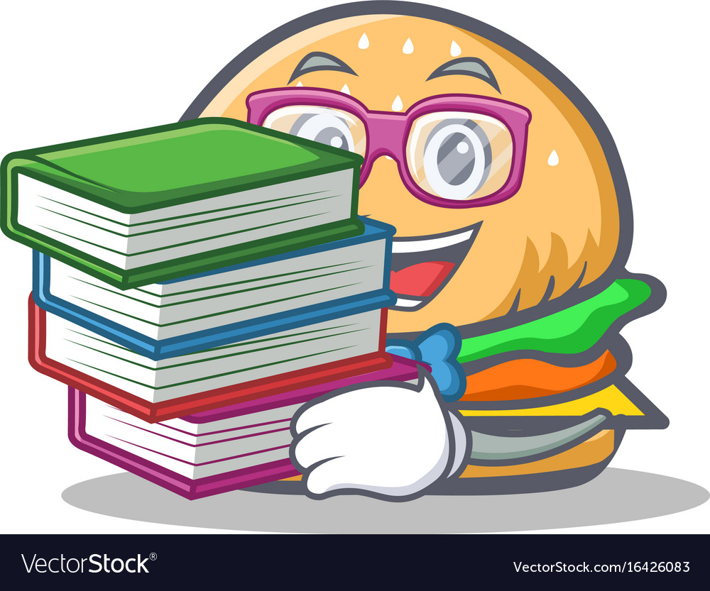 Student burger character fast food with book vector image