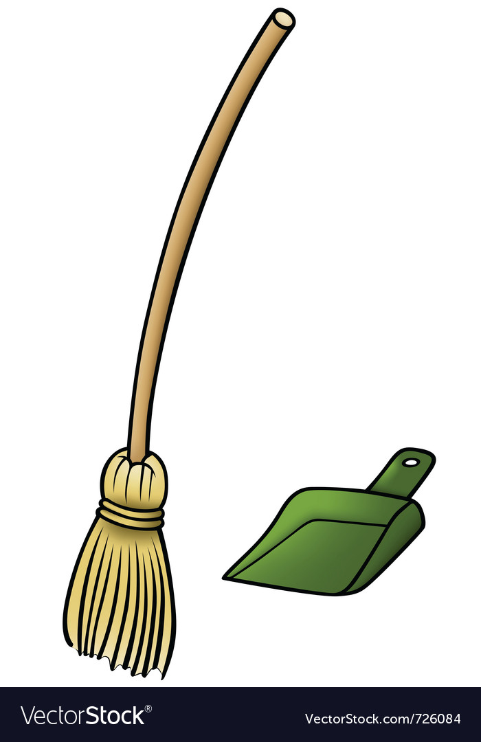 Broom and scoop vector image
