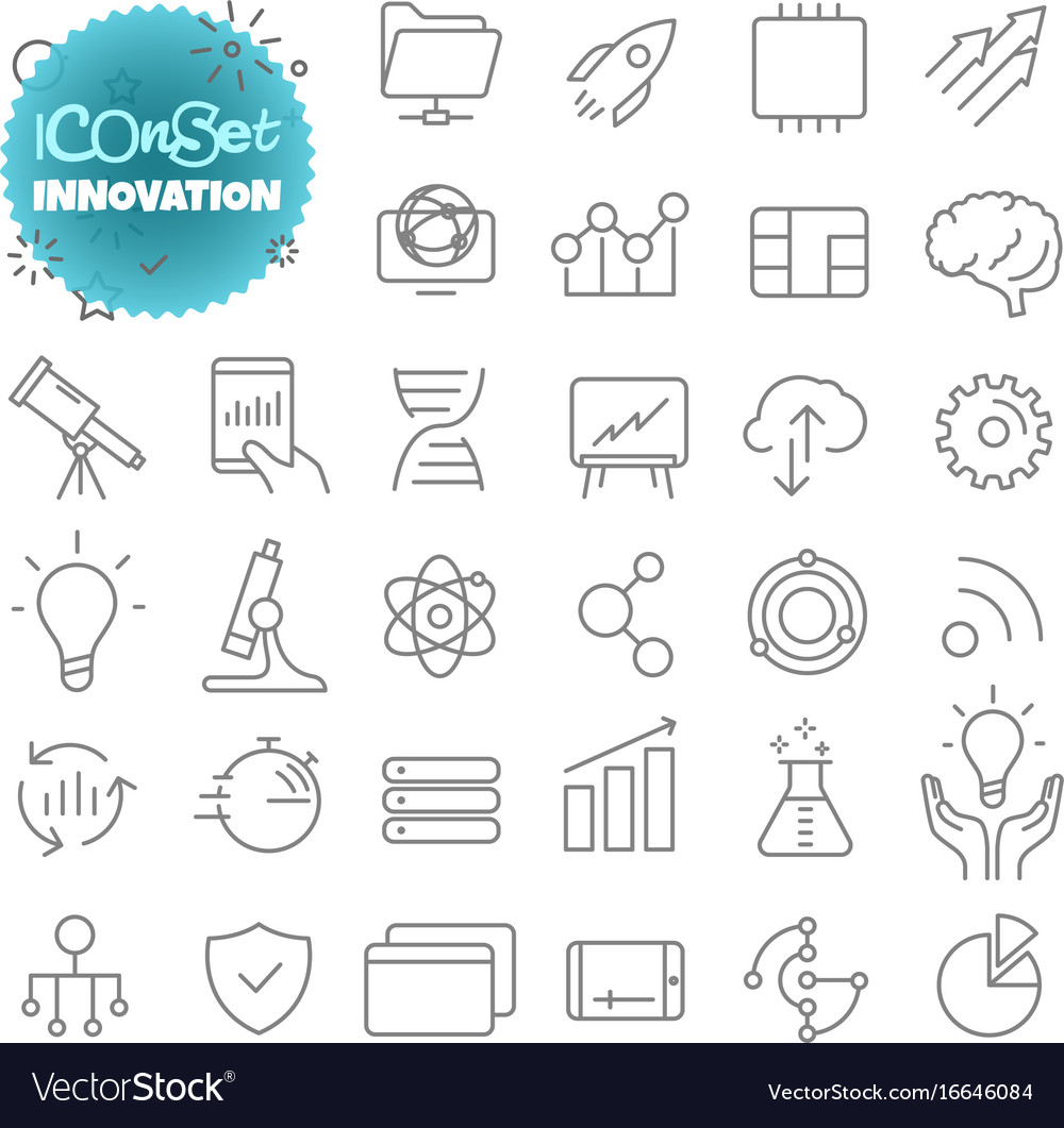 Outline icon set pictogram set innovation vector image