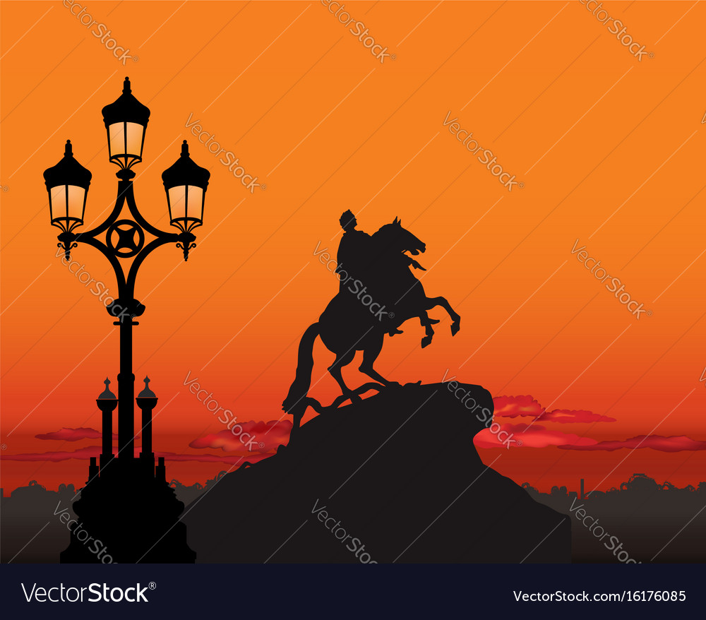 Peter the great monument view saint petersburg vector image